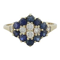 14k Yellow Gold Natural Blue Sapphire and Diamond Ring Size 6 1/2