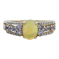 10k Yellow Gold Natural Ethiopian Opal Tanzanite and Diamond Ring Size 7 1/2