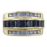 10k Yellow Gold Natural Sapphire and Light Blue Ceylon Sapphire Ring Size 5