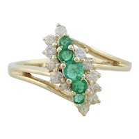 14k Yellow Gold Natural Emerald and Diamond Ring Size 6 1/2