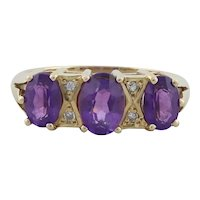14k Yellow Gold Natural Amethyst and Diamond Ring Size 6 1/2