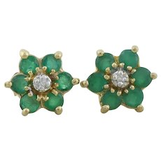 10k Yellow Gold Natural Emerald and Diamond Flower Earrings Stud Post Earrings