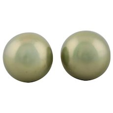 14k Yellow Gold Large 10mm Grey Pearl Earrings Stud Post Earrings