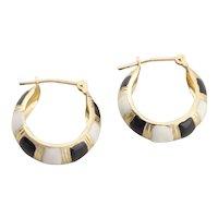 14k Yellow Gold Black and White Enamel Hoop Earrings
