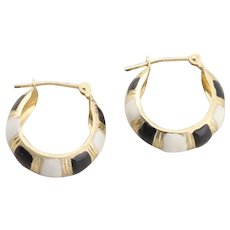 14k Yellow Gold Black and White Enamel Hoop Earrings