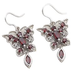 10k White Gold Natural Garnet Butterfly Earrings Dangle Drop Earrings