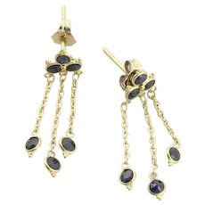 14k Yellow Gold Natural Blue Sapphire Earrings Dangle Drop Earrings
