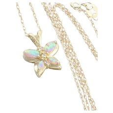 10k Yellow Gold Lab Created Opal and Topaz Butterfly Necklace 18 inch chain