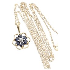 10k Yellow Gold Natural Blue Sapphire and Diamond Necklace 18 inch chain