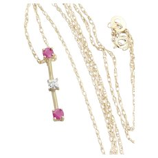 10k Yellow Gold Natural Ruby and Diamond Necklace 18 inch chain