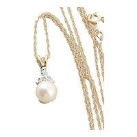 14k Yellow Gold Natural Pearl and Diamond Necklace 18 inch Chain