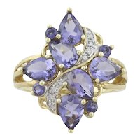 10k Yellow Gold Natural Purple Tanzanite and Diamond Ring Size 8 1/2
