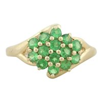 14k Yellow Gold Natural Peridot Cluster Ring Size 5 1/4