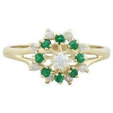 14k Yellow Gold Natural Emerald and Diamond Ring Starburst Size 6