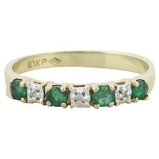 10k Yellow Gold Natural Emerald and Diamond Band Ring Size 6 1/4