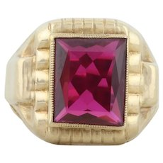 Mens 10k Yellow Gold Lab Created Ruby Ring Size 10 Art Deco Ring