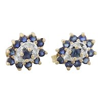 10k Yellow Gold Natural Blue Sapphire and Diamond Earrings Stud Post Earrings