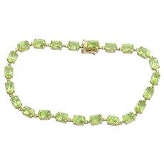 10k Yellow Gold Natural Green Peridot Bracelet 7 inch Tennis Bracelet