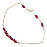 14k Yellow Gold Natural Ruby Bracelet 7 inch long