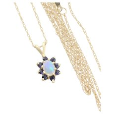 14k Yellow Gold Natural Opal and Blue Sapphire Necklace chain 18 inch