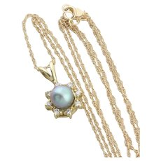 14k Yellow Gold Black Pearl and Diamond Necklace 18 inch Chain