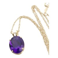 "14k Yellow Gold Natural Purple Amethyst Necklace 18"" inch Chain"