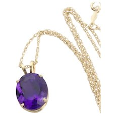 """14k Yellow Gold Natural Purple Amethyst Necklace 18"""" inch Chain"""