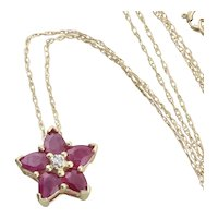 10k Yellow Gold Natural Ruby and Diamond Star Flower Necklace 18 inch chain
