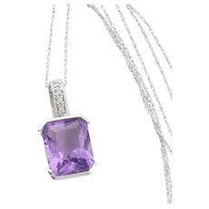 """14k White Gold Natural Purple Amethyst and Diamond Necklace 18"""" inch Chain"""