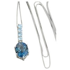 10K White Gold Natural London Blue Topaz and Sky Blue Topaz Necklace with 18 inch chain