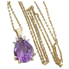 """10k Yellow Gold Natural Purple Amethyst and Diamond Necklace 18"""" Chain"""