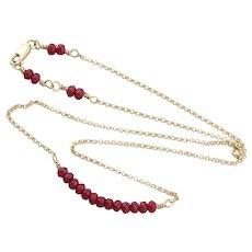 14k Yellow Gold Natural Ruby Bead Choker Necklace 15 inch chain