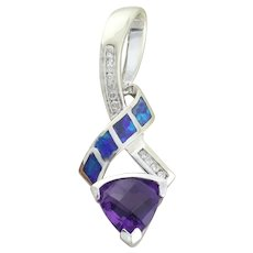 Pendent 14k White Gold Natural Amethyst, Black Opal and Diamond Pendent Only