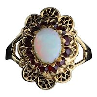 10k Yellow Gold Natural Opal and Garnet Ring Size 7