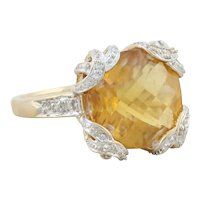 14k Yellow Gold Natural Citrine and Diamond Ring Size 9