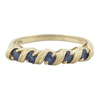 14k Yellow Gold Natural Blue Sapphire Band Ring Size 7 1/4
