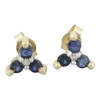 10k Yellow Gold Natural Sapphire and Diamond Earrings Stud Post Earring