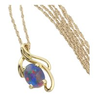 14k Yellow Gold Black Opal Triplet Necklace 18 inch chain