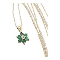 10k Yellow Gold Natural Emerald and Diamond Flower Necklace 18 inch chain