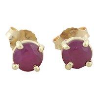 14k Yellow Gold Natural Ruby Earrings Stud Post Earrings