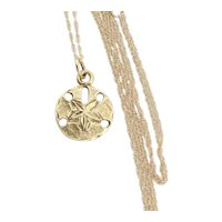 14k Yellow Gold Sand dollar Sea Shell Necklace 18 inch chain