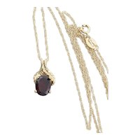 10k Yellow Gold Natural Garnet Leaf Design Necklace 18 inch chain