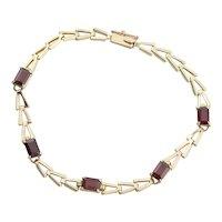 14K Yellow Gold Natural Garnet Bracelet Bracelet 7 inch long