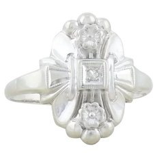 14k White Gold Diamond Art Deco Antique Ring Size 7 1/4