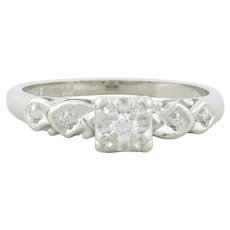 14k White Gold Diamond Art Deco Ring Size 6 1/2