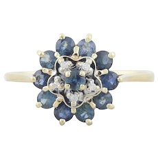 14k Yellow Gold Natural Blue Sapphire and Diamond Flower Ring Size 8 1/2