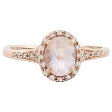 10k Rose Gold Natural Morganite and Diamond Halo Ring Size 9 1/2