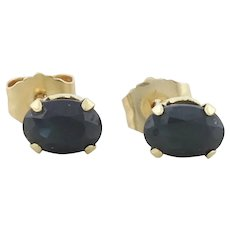 14k Yellow Gold Natural Dark Blue Sapphire Earrings Stud Post Earrings
