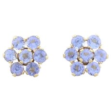 14k Yellow Gold Natural Tanzanite Flower Earrings Stud Post Earrings