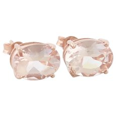 10K Rose Gold Natural Morganite Earrings Stud Post Earrings